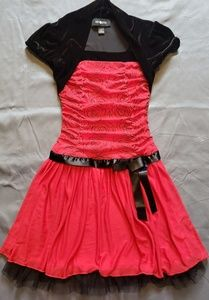 Amy Byer Girls Red and Black Rouched Bodice Dress
